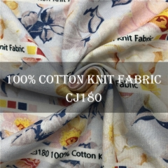Custom Printed Cotton Single Jersey Fabric NO MOQ 100%cotton, 170gsm --- CJ180