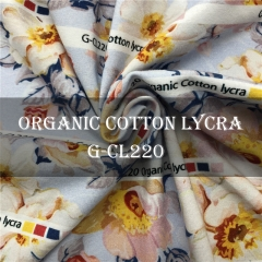 Custom Printed 95%Cotton 5%Spandex Organic Cotton Fabric NO MOQ, 250gm ---- G-CL220