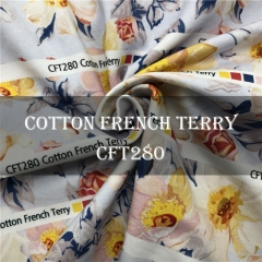 Custom Printed Cotton Lycra French Terry fabric NO MOQ, 95%C 5%SP, 300gsm ---CFT280