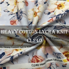 Custom Printed 95/5 Heavy Cotton Lycra Knit Fabric NO MOQ 270gsm --- CL240