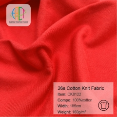 CK8122 100% Cotton Knit Jersey Fabric 160gsm,MOQ=25KG