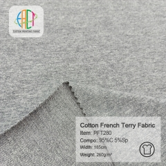 PFT280 95%C 5%Sp 260gsm Cotton Lycra French Terry Fabric,MOQ=25KG