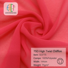 GCF75 75D High Twist Chiffon Fabric MOQ=100m