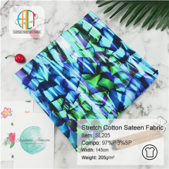 SL205 Wholesale Custom Printed Stretch Cotton Sateen NO MOQ 205gsm