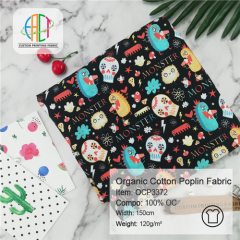 OCP3372 Custom Printed Organic Cotton Poplin Fabric NO MOQ 120gsm