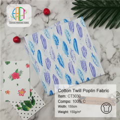 CT3030 Custom Printed Cotton Twill Poplin Fabric NO MOQ 150gsm