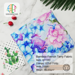 Custom Printed 95/5 Bamboo Lycra French Terry Fabric Wholesale, 280-300gsm ---BFT280