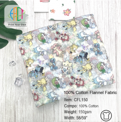 CFL150 Custom Printed 100% Cotton Flannel Fabric NO MOQ,150gsm