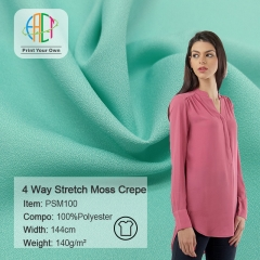 PSM100 Wholesale 4 Way Stretch Moss Crepe Fabric 140gsm MOQ 50m