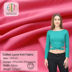 CK8123 Wholesale  95% Cotton 5%Spandex Knit Fabric 220gsm MOQ 25KG as a roll