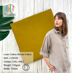 MOQ=100m,52%Linen 48%Cotton Woven Fabric 135gsm,