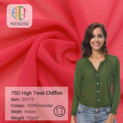 GCF75 Wholesale High Twist Chiffon Fabric 75gsm MOQ 50m
