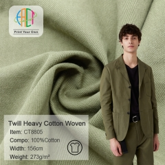 MOQ=100m,CT8805 Twill 273gsm Heavy Cotton Woven Fabric