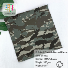 SSB320 Custom Printed Polyester Softshell 3-Layers Bonded Fabric 320gsm