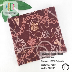 PY4545 Custom Printed Polyester Voile Scarf Fabric 77gsm