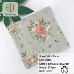 LC135 Wholesale Custom Printed Linen Cotton Fabric 135gsm