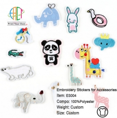 ES004 Animals Series Embroidery Stickers for Clothes Accessories 13pcs
