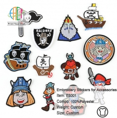 ES001 Pirate Series Embroidery Stickers for Clothes Accessories 12pcs