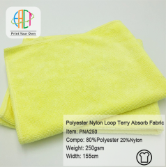 PNA250 Wholesale Polyester Nylon Loop Terry Microfiber Towel Fabric for Baby Diaper Accessories 250gsm MOQ 25kg as a roll