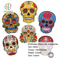ES003 Skull Series Embroidery Stickers for Clothes Accessories 6pcs