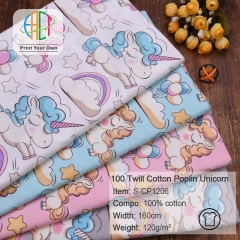 S-CP1206 Twill 100% Cotton Poplin Fabric Unicorn Printed,120gsm,160cm,MOQ=50