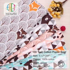 S-CP1207 Twill 100% Cotton Poplin Fabric Bear and Triangle Printed,120gsm,160cm,MOQ=50m