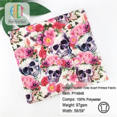 PY4848 Custom Imitated Cotton Voile Scarf Printed Fabric 97gsm