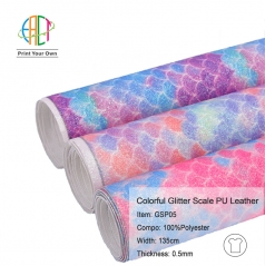 GSP05 Glitter Mermaid/Multicolour Rainbow PU Leather Vinyl Fabric 0.5MM
