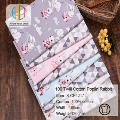 S-CP1217 Twill 100% Cotton Poplin Fabric Rabbit Printed,120gsm,160cm,MOQ=50m