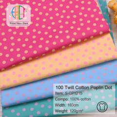 S-CP1215 Twill 100% Cotton Poplin Fabric Colorful Dots Printed,120gsm,160cm,MOQ=50m