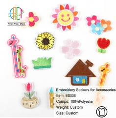 ES006 Sunny Series Embroidery Stickers for Clothes Accessories 12pcs