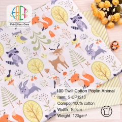 S-CP1213 Twill 100% Cotton Poplin Fabric Animal And Stripes Printed,120gsm,160cm,MOQ=50m