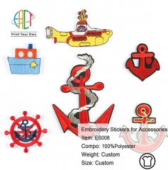 ES008 Boat Anchor Series Embroidery Stickers for Clothes Accessories 6pcs