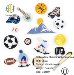 ES007 Sports Series Embroidery Stickers for Clothes Accessories 16pcs