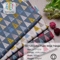 S-CP1219 Twill 100% Cotton Poplin Fabric Triangle Printed,120gsm,160cm,MOQ=50m