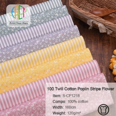 S-CP1218 Twill 100% Cotton Poplin Fabric Stripe And Floral Printed,120gsm,160cm,MOQ=50m