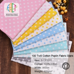S-CP1221 Twill 100% Cotton Poplin Fabric Star Printed,120gsm,160cm,MOQ=50m