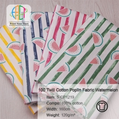 S-CP1220 Twill 100% Cotton Poplin Fabric Watermelon Printed,120gsm,160cm,MOQ=50m