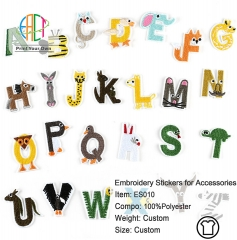 ES010 Alphabet Series Embroidery Stickers for Clothes Accessories 26pcs
