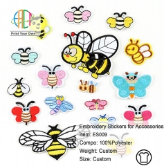 ES009 Honeybee Series Embroidery Stickers for Clothes Accessories 17pcs