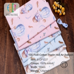 S-CP1227 Twill 100% Cotton Poplin Fabric Printed Hot Air Balloon ,120gsm,160cm,MOQ=50m