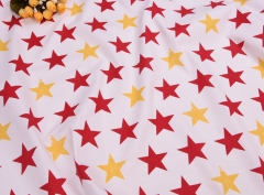 S-CP1223 Twill 100% Cotton Poplin Fabric Printed Colorful Star,120gsm,160cm,MOQ=50m