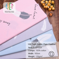 S-CP1224 Twill 100% Cotton Poplin Fabric Printed Plain Feather,120gsm,160cm,MOQ=50m