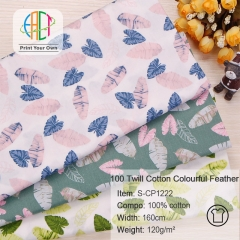 S-CP1222 Twill 100% Cotton Poplin Fabric Colourful Feather Printed,120gsm,160cm,MOQ=50m
