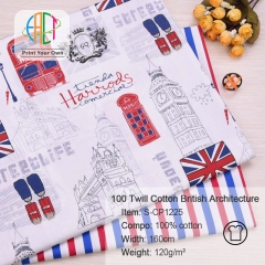 S-CP1225 Twill 100% Cotton Poplin Fabric Printed Britain Architecture ,120gsm,160cm,MOQ=50m
