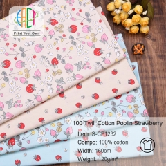 S-CP1232 Twill 100% Cotton Poplin Fabric Printed Strawberry,120gsm,160cm,MOQ=50m