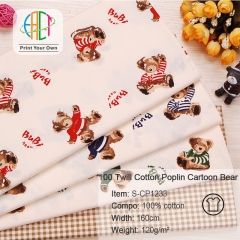 S-CP1233 Twill 100% Cotton Poplin Fabric Printed Cartoon Bear,120gsm,160cm,MOQ=50m