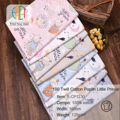 S-CP1230 Twill 100% Cotton Poplin Fabric Printed Little Boy,120gsm,160cm,MOQ=50m