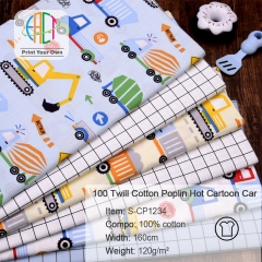 S-CP1234 Twill 100% Cotton Poplin Fabric Printed Cartoon Car,120gsm,160cm,MOQ=50m