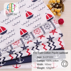 S-CP1237 Twill 100% Cotton Poplin Fabric Printed Sailboat,120gsm,160cm,MOQ=50m